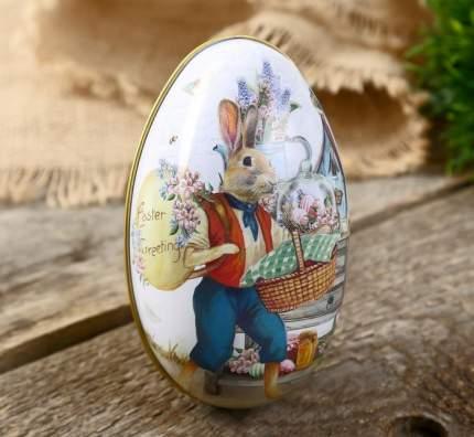 Шкатулка яйцо металлическая Заяц с пасхальной корзиной
