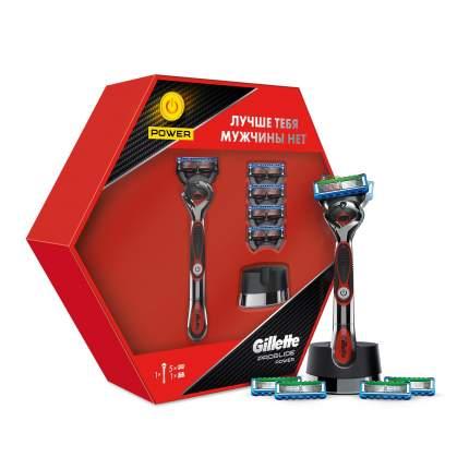 Подарочный набор GilletteProglidePower бритва с 1 касс. с элем.питания+4 касс.+подставка
