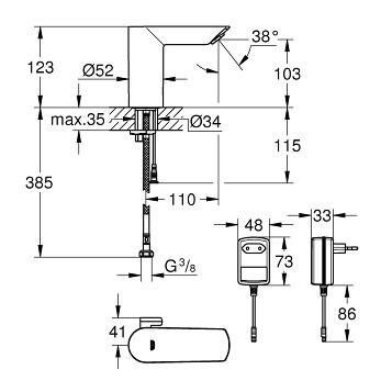 Смеситель для раковины электронный GROHE Bau Cosmopolitan E 36453000