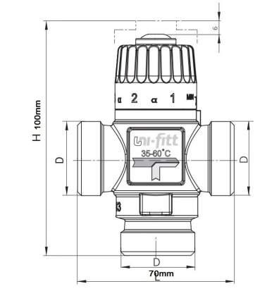 Клапан термосмесительный 3/4'' вн/вн/вн боковое смешение 35-60 град. UNI-FITT (Италия)