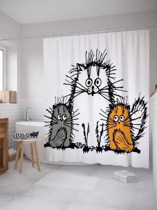 """Штора для ванной JoyArty """"Мохнатые коты"""" из сатена, 180х200 см с крючками"""