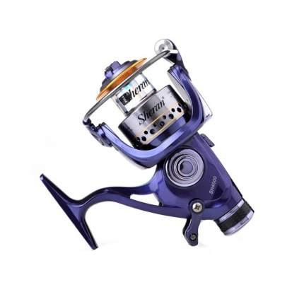 Рыболовная спиннинговая катушка, сиреневая, модель 400, 14х12,5 cм