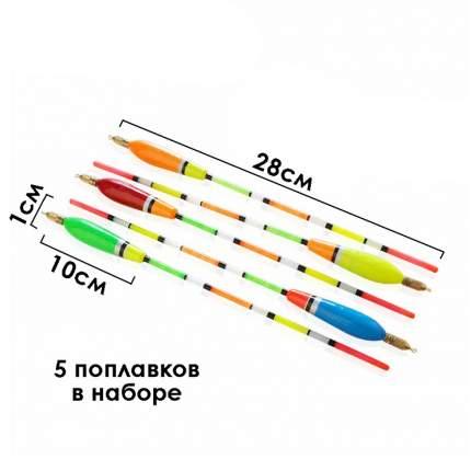 Поплавки рыболовные,  5 шт, 5+2г, разноцветные, 31х9х1 см, Рыбиста RB-FLOAT-01