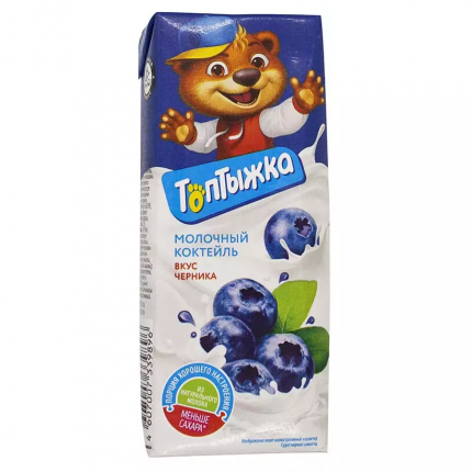 Коктейль молочный Топтыжка Черника 3,2% 200 г бзмж