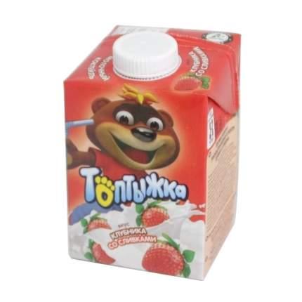 Молочный коктейль Топтыжка Клубника со сливками 3,2% 500 г бзмж