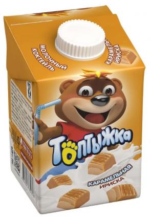 Молочный коктейль Топтыжка Карамельная ириска 3,2% 500 г бзмж