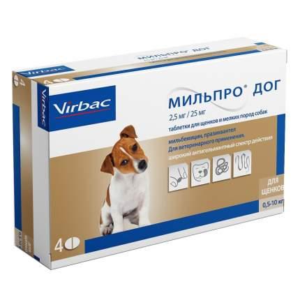 Антигельминтик для щенков Virbac Мильпро Дог, для маленьких собак, 4 таб
