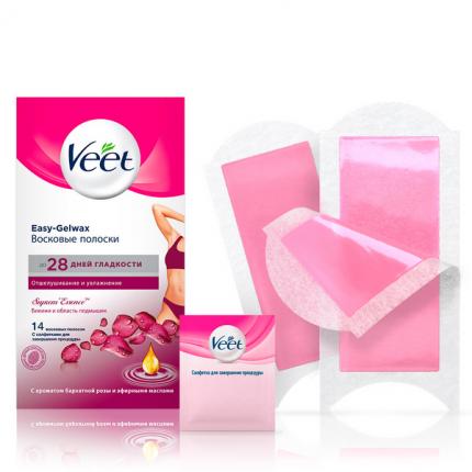 Полоски для депиляции Veet Suprem'Essence c ароматом бархатной розы 14 полосок+2 салфетки