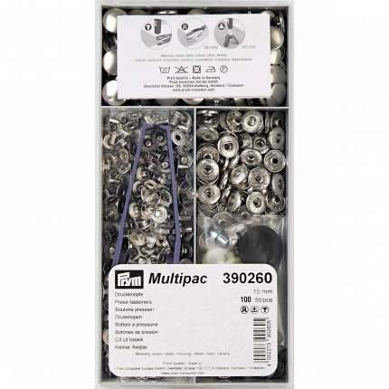 """Кнопки Prym """"Анорак"""" (латунь), цвет: серебристый, 15 мм, 100 штук, арт. 390260"""