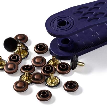 Клепки двусторонние, латунь, нержавеющие, 9 мм, состаренной меди/черный, 24 штуки