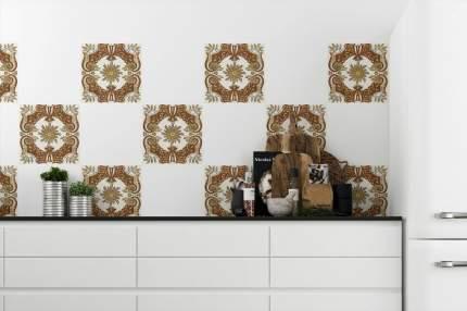 """Наклейка на стену Плитка с растительным узором """"Цветок граната"""" 12 шт.10х10 см"""