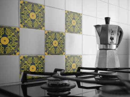 Наклейка на стену для кухни, ванной Плитка с растительным узором 12 шт. 20 х20 см