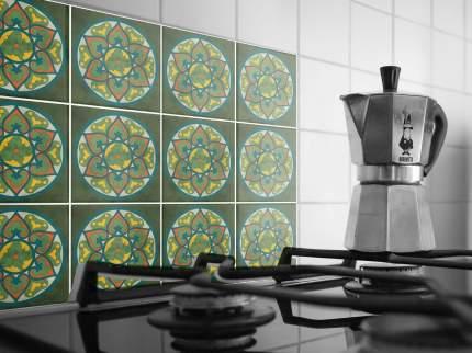 Наклейка на стену для кухни, ванной Плитка с цветочным узором в круге 40 шт. 20 х20 см