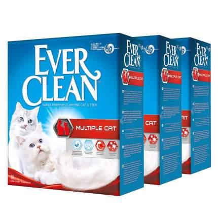 Комкующийся наполнитель для кошек Ever Clean Multiple Cat глиняный, 6 кг, 6 л, 3шт