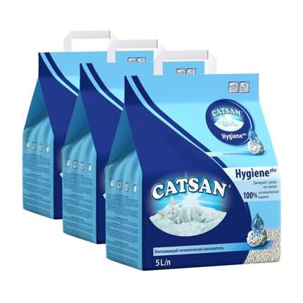 Впитывающий наполнитель для кошек Catsan Гигиена глиняный, 2.44 кг, 5 л, 3 шт