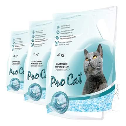 Впитывающий наполнитель для кошек Pro Cat силикагелевый, 4.06 кг, 4 л, 3шт
