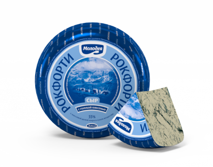 Сыр мягкий Молодея Рокфорти с голубой плесенью 55% ~ 2,5 кг