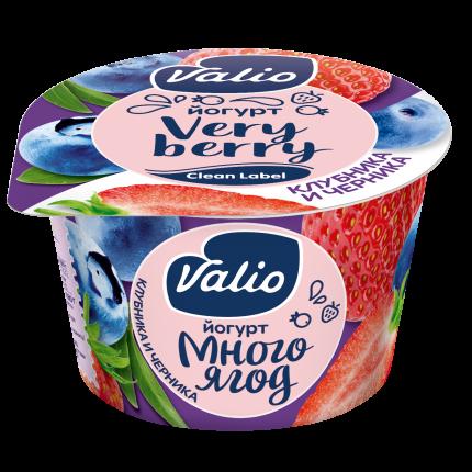 Йогурт Valio Clean Label с черникой и клубникой 2,6% 180 г бзмж