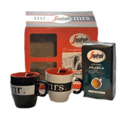 Кофейный набор  Segafredo молотый с кофейной парой чашек 250 грамм