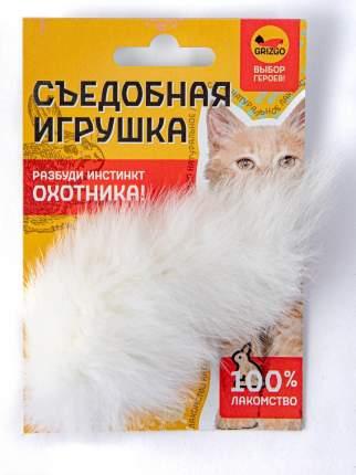 Жевательная игрушка для кошек GRIZGO натуральный мех, белый, 8 см