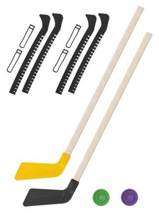 2 Клюшки хоккейных жёлтая и чёрная 80 см.+2 шайбы + Чехлы для коньков черные - 2 шт.