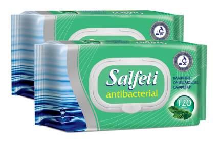 Влажные салфетки Salfeti antibac №120 антибактериальные с клапаном в упаковке 2 шт