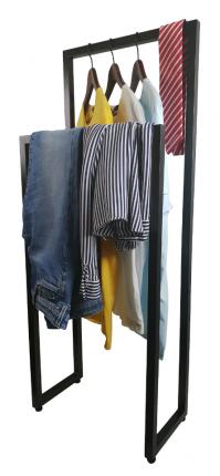 Вешалка напольная для одежды в стиле Лофт. 48х25х110см Высота стоек 110 и 90см. Черная