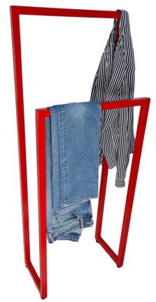 Вешалка напольная для одежды в стиле Лофт. 48х25х110см Высота стоек 110 и 90см. Красная