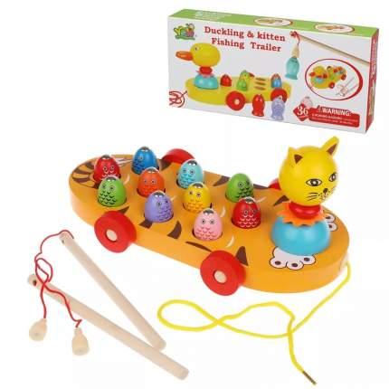 Каталка-игрушка детская Наша Игрушка Котя, удочка, 8 рыбок