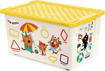 Ящик для игрушек Plastic Centre Три Кота Обучайка считай на колесах с желтой крышкой 57 л