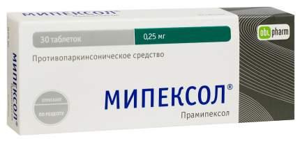 Мипексол таблетки 250 мг №30