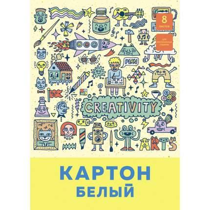 """Белый картон """"Паттерн"""", А4, 8 листов,Unnika Land,БК8448"""