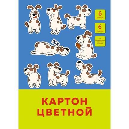 """Цветной картон """"Забавный щенок"""" А4 6 листов 6 цветов Unnika Land ЦК66454"""