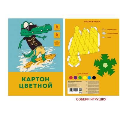 """Цветной картон """"На море"""" А4 6 листов 6 цветов Unnika Land ЦК66455"""