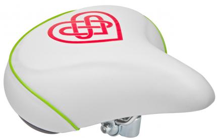 Седло вело VL-80158S, Белый/Красный/Зеленый