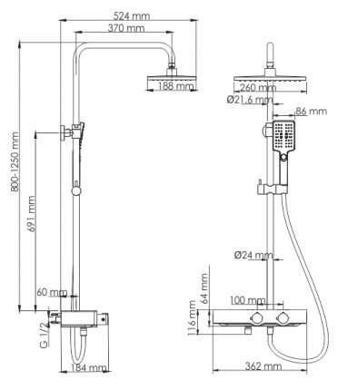Душевой комплект с термостатическим смесителем WasserKRAFT A11401