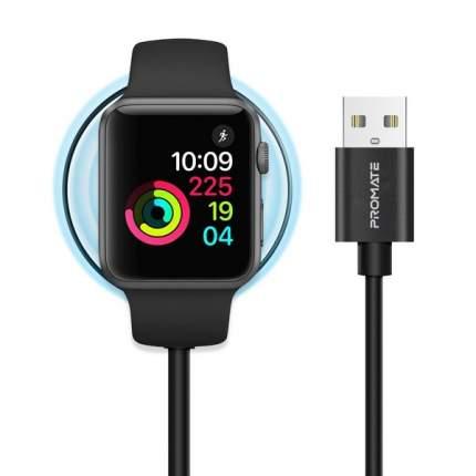 Кабель MFI USB Promate AuraCord-A с магнитным креплением для зарядки Apple Watch 1m black