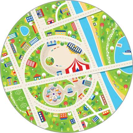 Игровой плюшевый ковер 3в1 Wolli Matlig Маленький город, круглый 120 см