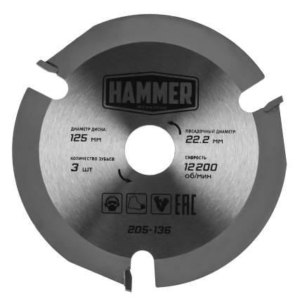 Пильный диск твердосплавный HAMMER Ф125х22мм 3зуб. (205-136)