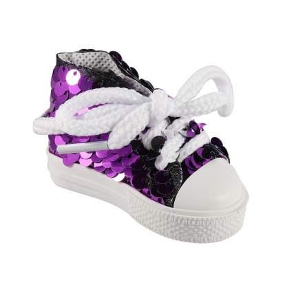 Брелок АЙРИС Кеды со шнурками, блестящие для брелка 7*3,5см фиолетововый