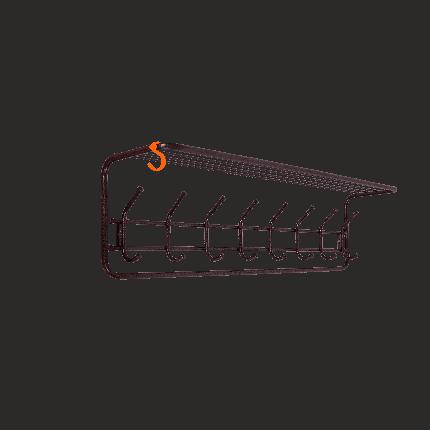Вешалка настенная ЗМИ с полкой, 100 см, 8 крючков, цвет медный антик