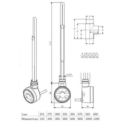 Тэн для полотенцесушителя Terma MOA хром (300W)