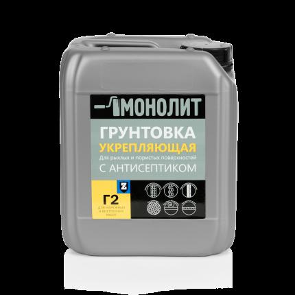 Грунтовка МОНОЛИТ Г 2-05 Укрепляющая с антисептиком, 5 кг