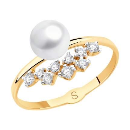 Кольцо женское SOKOLOV из золота с жемчугом и фианитами 791115 р.17.5