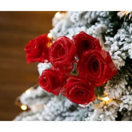 Букет из шести роз 6 см (роза)*32 см органза, красный, серебряный глиттер X528-5.5-R