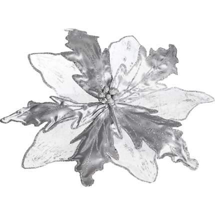Пуансеттия Воздушная 42 см серебряная, органза, клипса 484202