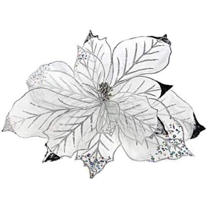 Пуансеттия Царская 50 см серебряная 488812