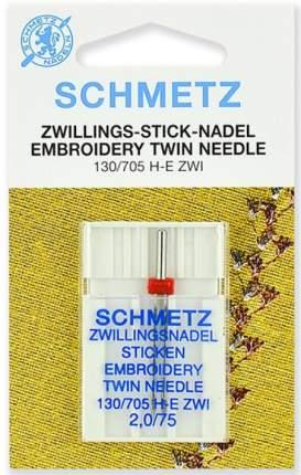 Иглы для вышивки двойные Schmetz 130/705H-E ZWI № 75/2.0, 1 шт. [арт. 72:20.EB2.SMS]