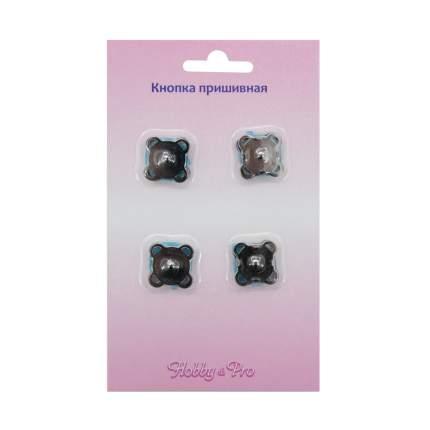 Кнопка магнитная пришивная Hobby&Pro, 15 мм, черный никель, 4 штуки, арт. 900405