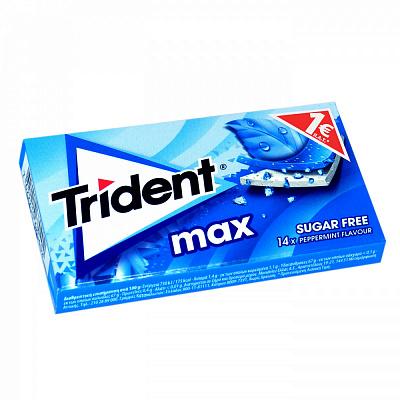 "Жевательная резинка Trident max ""Перечная мята"", без сахара, 27 гр"
